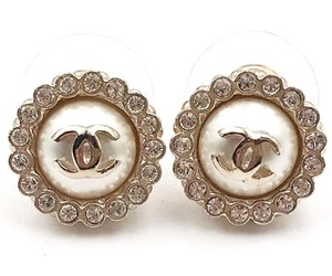 Chanel Chanel Gold CC Crystal Round Piercing Earrings