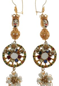 Dolce&Gabbana D31575 Women's Crystal Gold Wheel Pupi Doll Dangling Hook Earrings