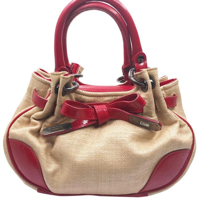 Item - Red Brown Patent Leather Canvas Wristlet
