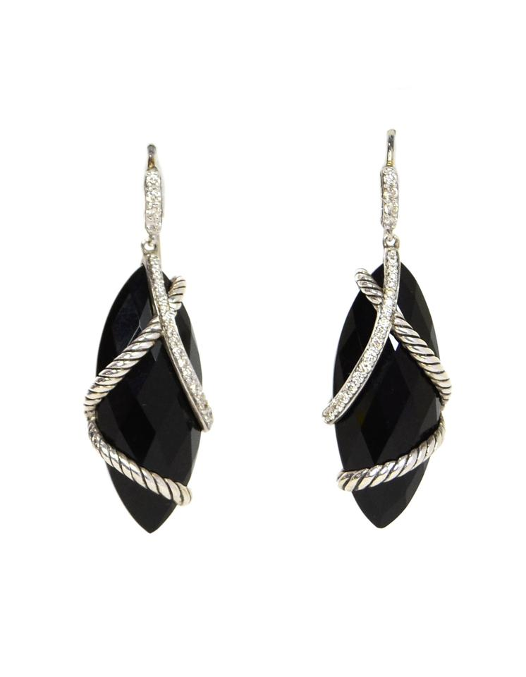 David Yurman Black Onyx Diamond Sterling Cable Wrap Drop Earrings