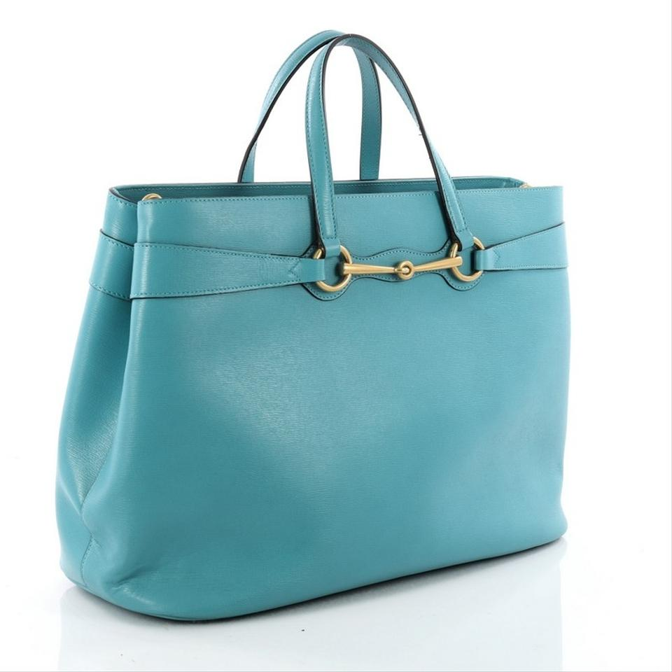 Gucci Bright Bit Convertible Large Light Blue Leather Tote