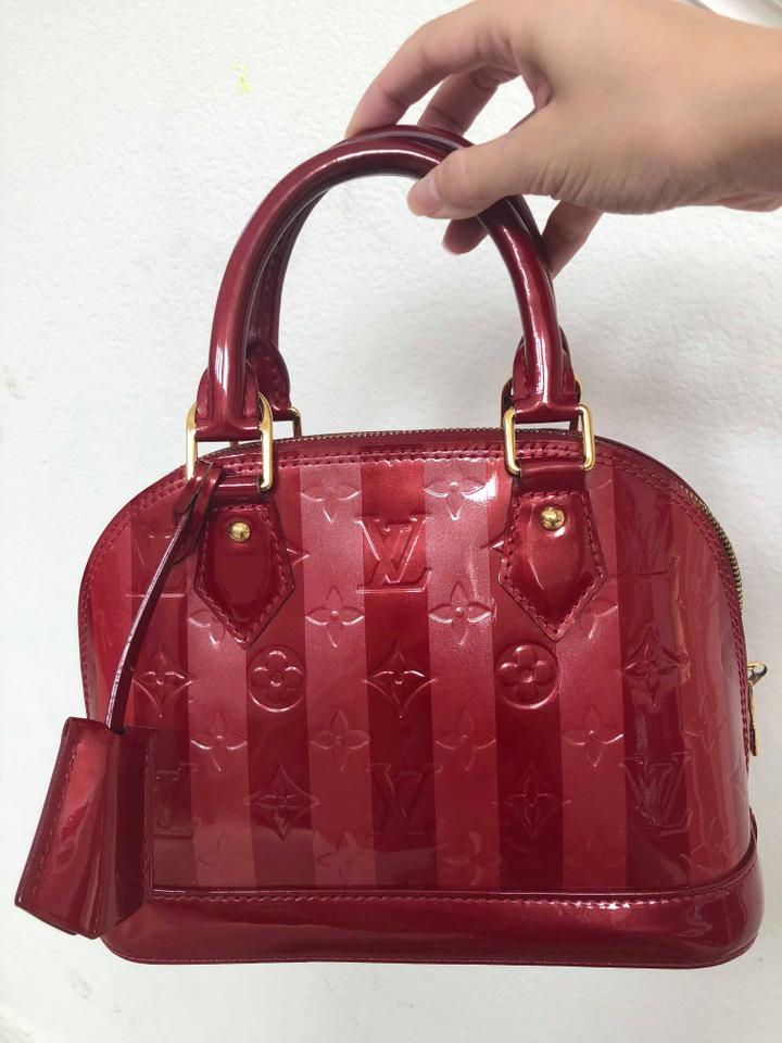 Louis Vuitton Alma Monogram Vernis Rayures Bb Red Patent Leather ... 499d2a33e3