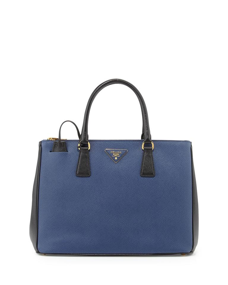 00ac27c45520 Prada Galleria Double Lux Saffiano Bicolor Double-zip Blue Black Blue  Leather Tote