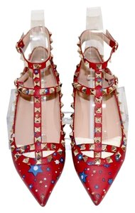 Valentino Rockstud Ballet Pointed Toe Caged Red Flats