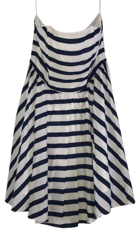 5b0b832ac891 Saks Fifth Avenue Navy White Strapless Striped Short Casual Dress ...