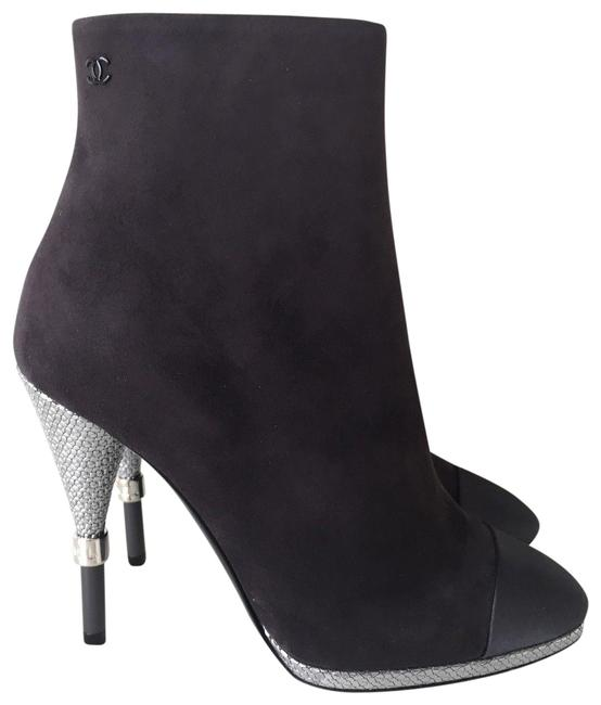 Item - Gray Suede Leather Satin Captoe Silver Heel Ankle Boots/Booties Size EU 36 (Approx. US 6) Regular (M, B)