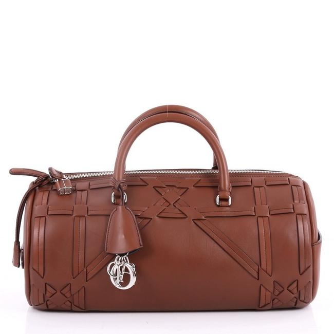 Item - Duffle Bag Connect Giant Cannage Woven Brown Leather Tote