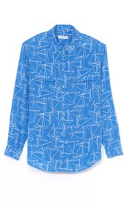 Equipment Silk Sailboat Blouse Cobalt Button Down Shirt Blue