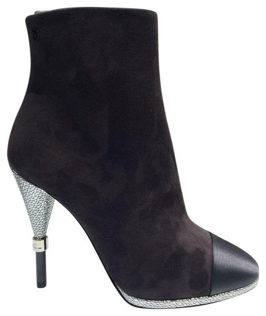 Item - Gray Suede Leather Satin Captoe Silver Heel Ankle Boots/Booties Size EU 37 (Approx. US 7) Regular (M, B)