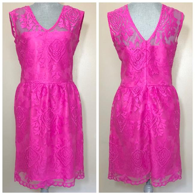 A.B.S. by Allen Schwartz Pink Lace Fit-and-flare Mid-length Cocktail Dress Size 8 (M) A.B.S. by Allen Schwartz Pink Lace Fit-and-flare Mid-length Cocktail Dress Size 8 (M) Image 1