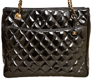 Chanel Quilted Patent Leather Tote Shopper Shoulder Bag