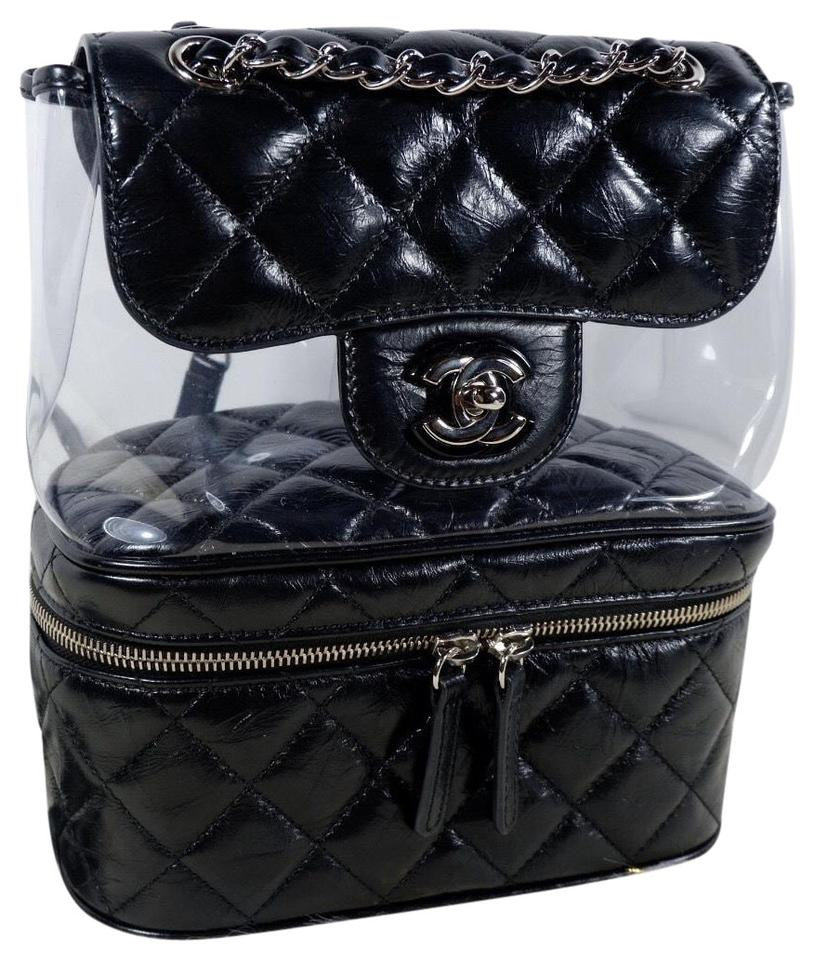 f2c176a448b6f0 Chanel Rare Transparent Vanity Flap Black Leather Backpack - Tradesy