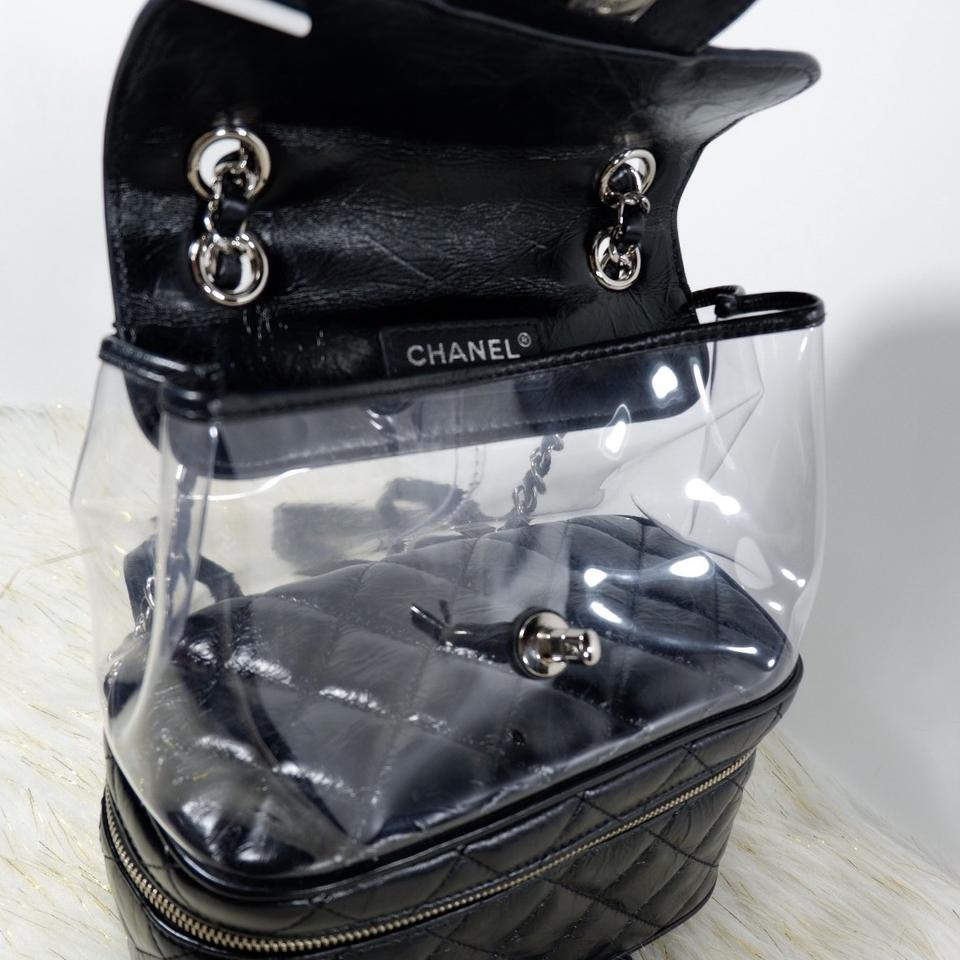 3cd7d181cc56 Chanel Rare Transparent Vanity Flap Black Leather Backpack - Tradesy