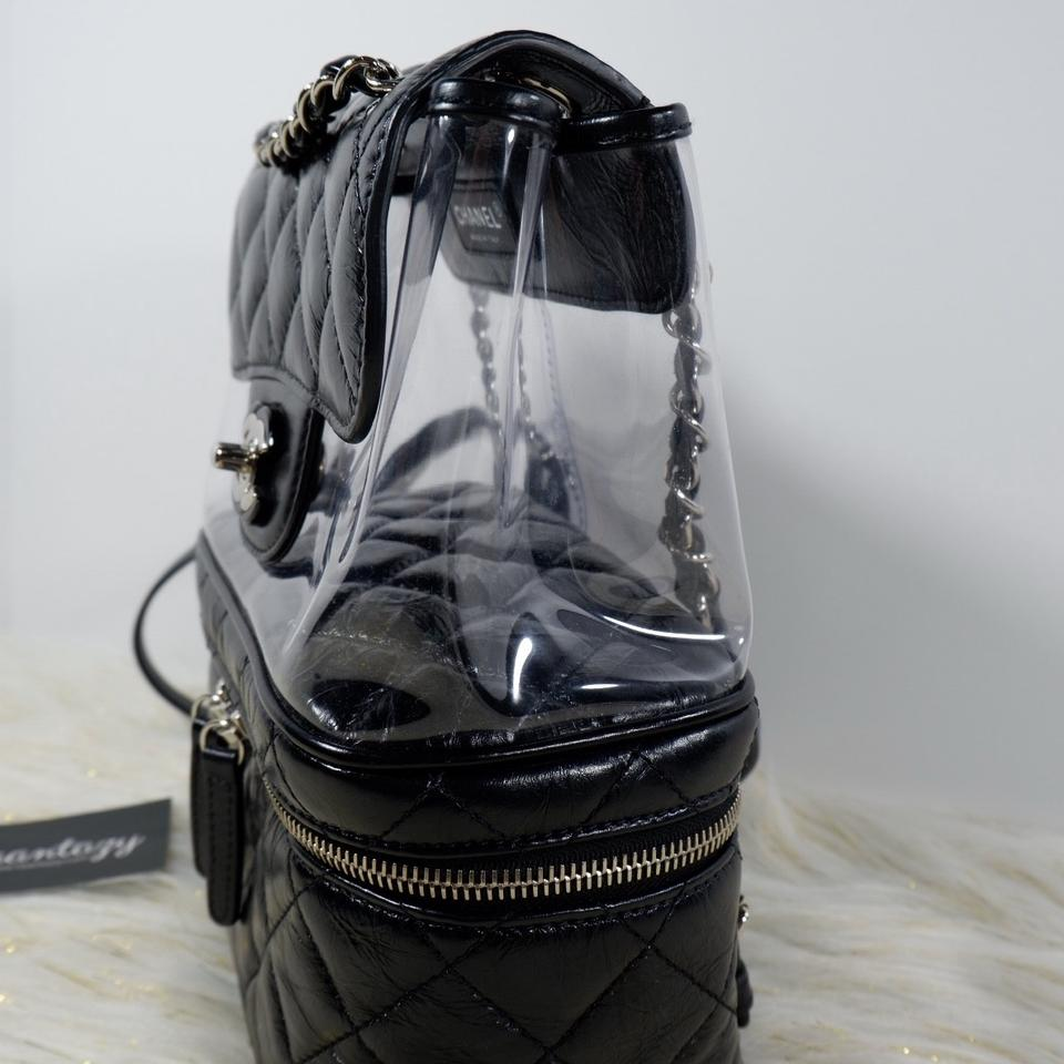 4144791a8778d0 Chanel Rare Transparent Vanity Flap Black Leather Backpack - Tradesy