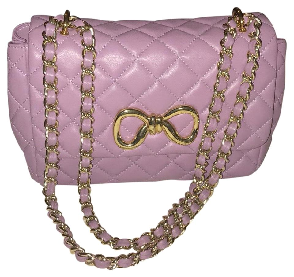 077fb82644c Moschino Quited Chain Lilac Lambskin Leather Shoulder Bag - Tradesy