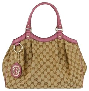 Gucci Tote in Brown with Pink leather trim