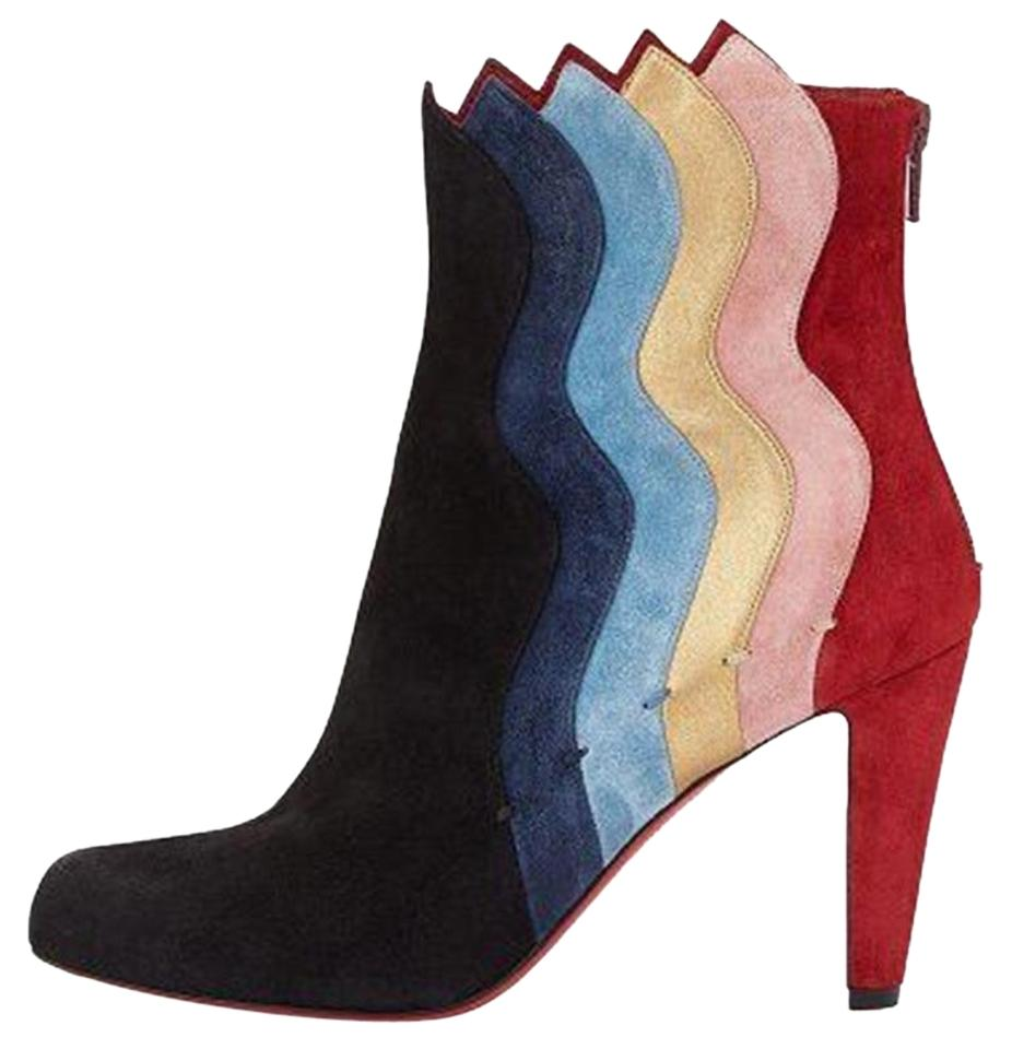 c0a9c70c5b1 Christian Louboutin Black Navy Blue Red Gold Pink Colorblock Suede Leather Ankle  Heels Boots Booties
