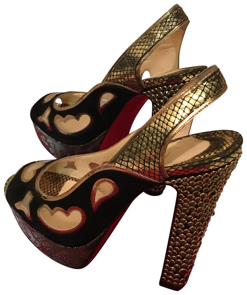 37bccfbe58e Christian Louboutin Black and Gold Tone Suede Metallic Leather Platforms