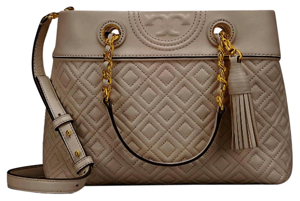 15ac55b9e Tory Burch Fleming Light Small Taupe Leather Tote - Tradesy