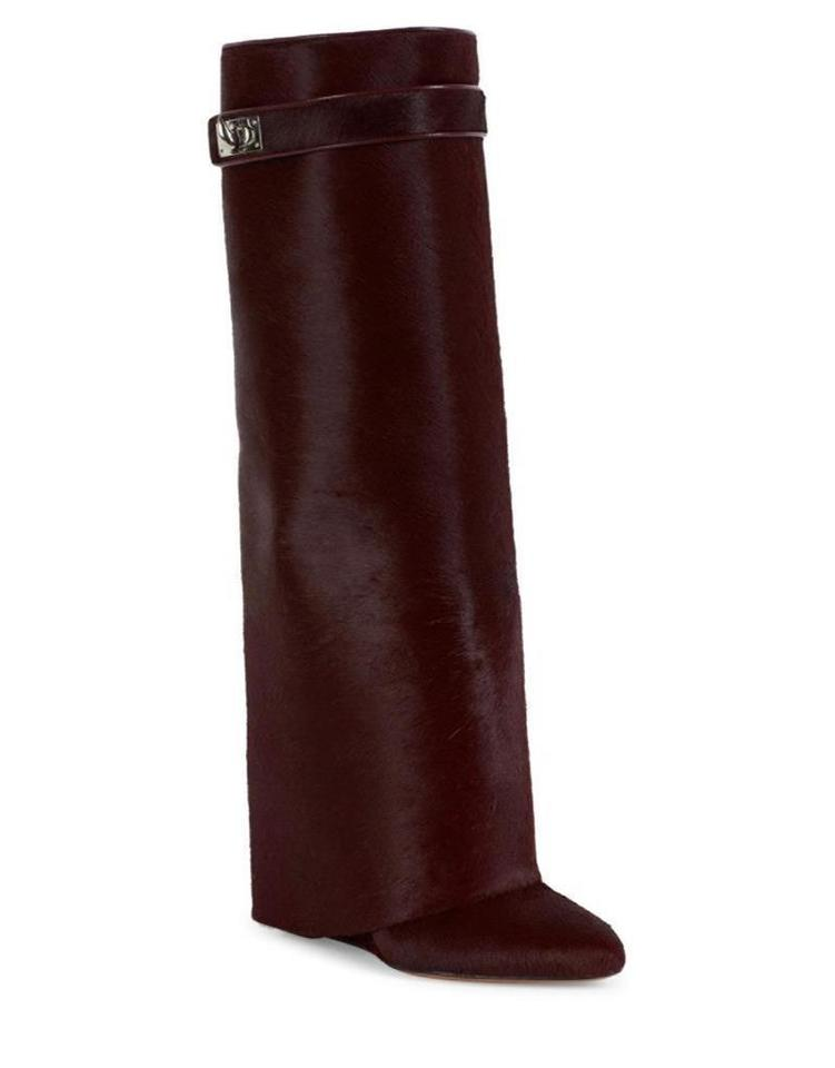 086c7c57805f Givenchy Oxblood Shark Lock Hair Fur Pant Gaiter Foldover Knee High Wedge  Boots/Booties