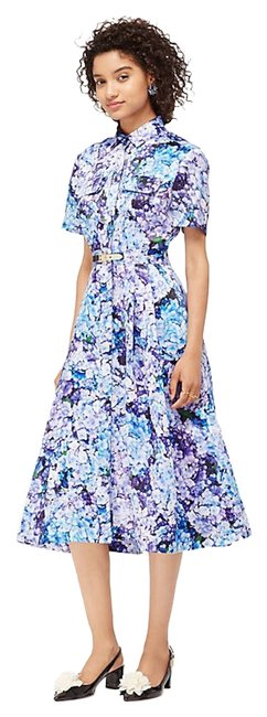Item - Blue Purple Floral Hortensia Syra Madison Ave Collection Long Cocktail Dress Size 6 (S)