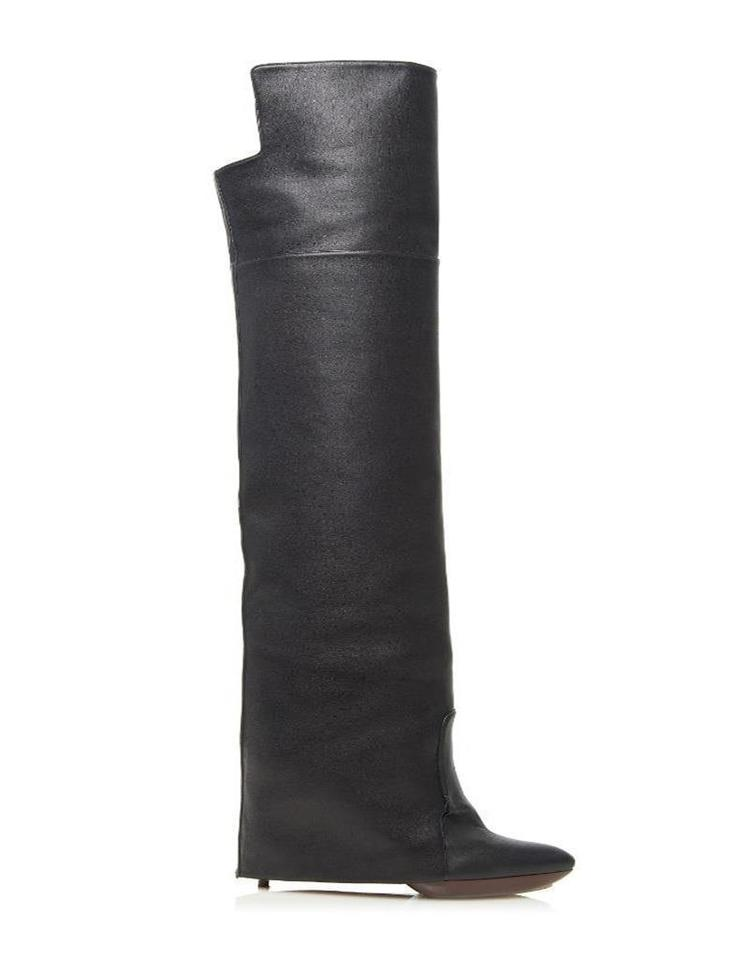 3547c51d9a0d Givenchy Black Shark Lock Leather Newton Pant Gaiter Foldover Knee High  Boots/Booties