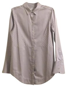 Foxcroft Top grey with white stripes