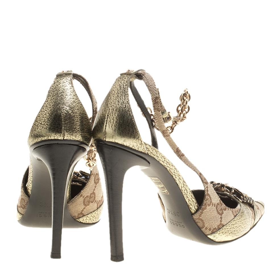 b907a10ebaea Gucci Beige Gg Canvas and Leather Crystal Embellished Pointed Toe ...