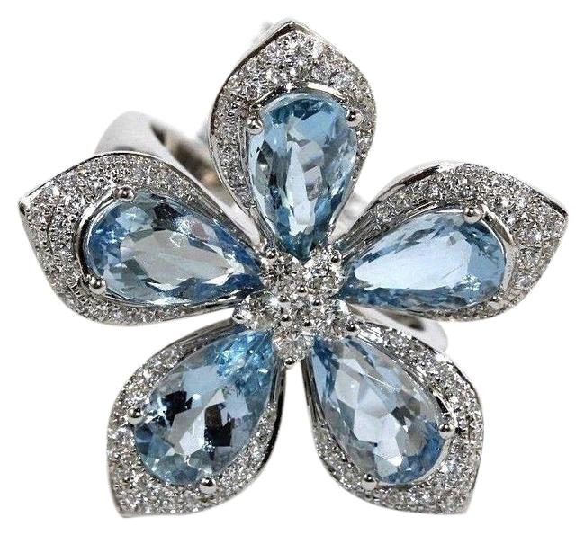 Blue & Silver Pear Shape Aquamarine Diamond Flower Star 18k White Gold 5.36ct Ring Blue & Silver Pear Shape Aquamarine Diamond Flower Star 18k White Gold 5.36ct Ring Image 1