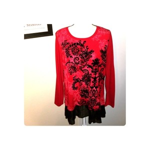 Style & Co Festive Chiffon Floral Layers Scoop Neck Top Red and Black