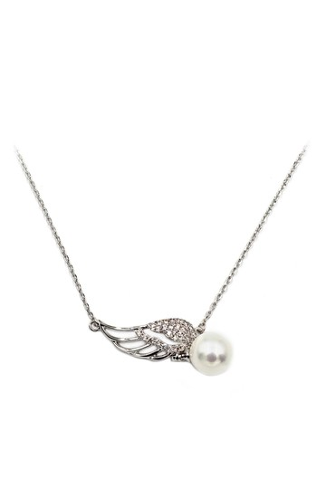 Preload https://img-static.tradesy.com/item/24042244/silver-sterling-single-crystal-wing-and-pearl-necklace-0-0-540-540.jpg