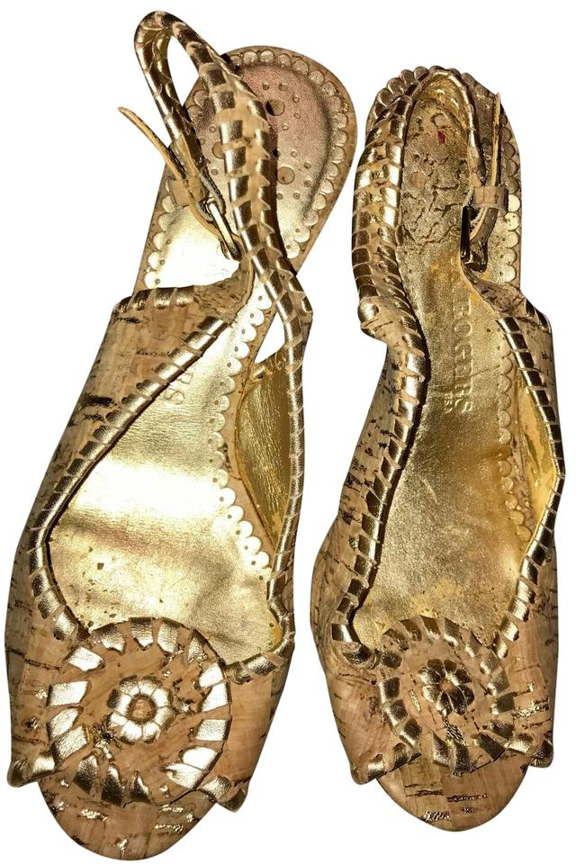 97c8755a8312e Jack Rogers Tan Gold Heel Sandals Thongs Cork-gold Leather 5.5m ...
