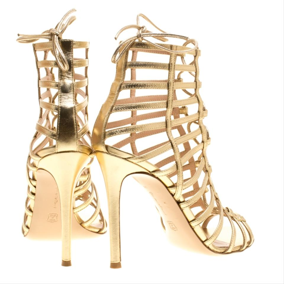 ec7d7019f Gianvito Rossi Metallic Gold Leather Roxy Lace Up Caged Sandals Size EU 38  (Approx. US 8) Regular (M