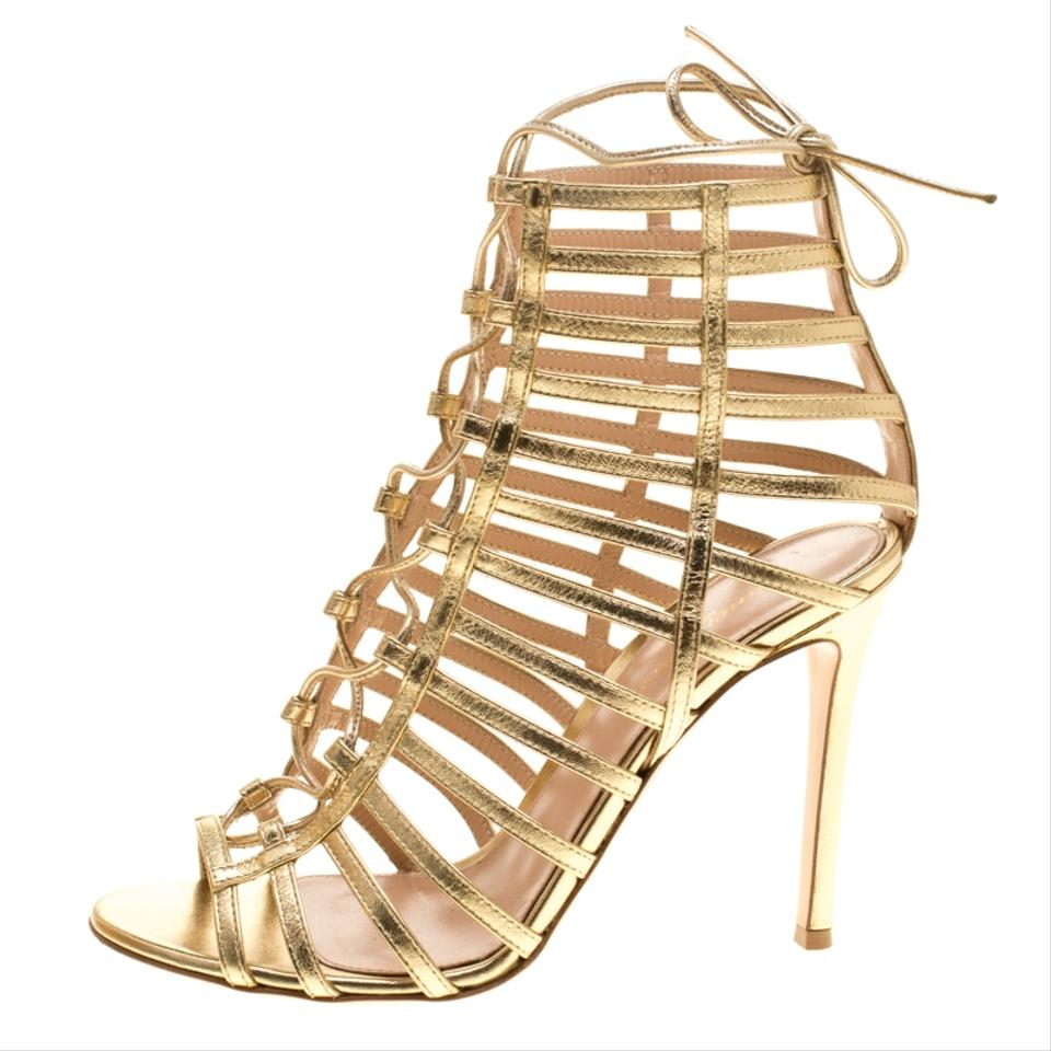 efe2fea25 Gianvito Rossi Metallic Gold Leather Roxy Lace Up Caged Sandals Size ...