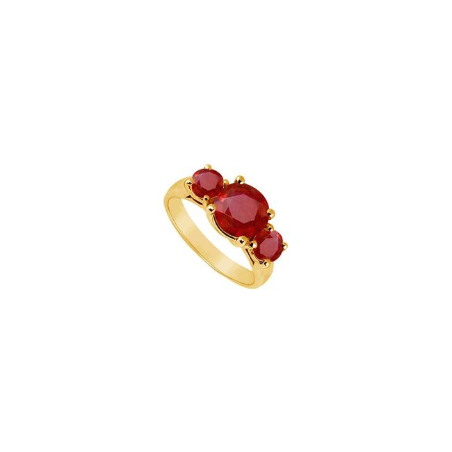 Yellow Red Three Stone Created Ruby Gold Vermeil 2.50 Ct Tgw Ring Yellow Red Three Stone Created Ruby Gold Vermeil 2.50 Ct Tgw Ring Image 1