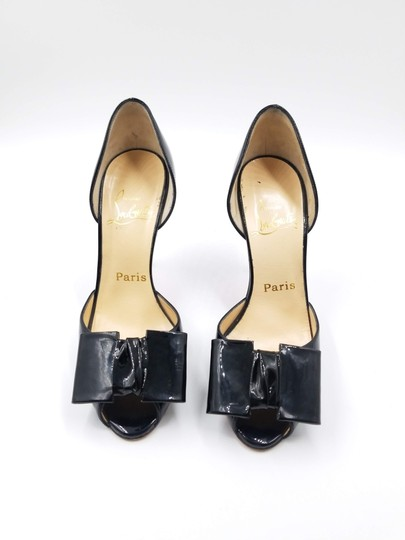 Christian Louboutin 76117 Bow Patent Leather Black Pumps Image 1