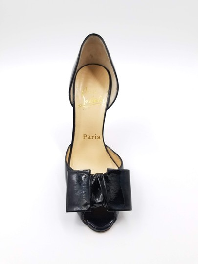 Christian Louboutin 76117 Bow Patent Leather Black Pumps Image 6