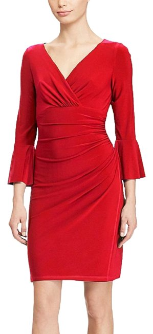 Lauren Ralph Lauren Red Jersey Bell-sleeve Parlor 2p Mid-length Work/Office Dress Size Petite 2 (XS) Lauren Ralph Lauren Red Jersey Bell-sleeve Parlor 2p Mid-length Work/Office Dress Size Petite 2 (XS) Image 1