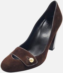 Gucci 76127 Suede Logo Brown Pumps