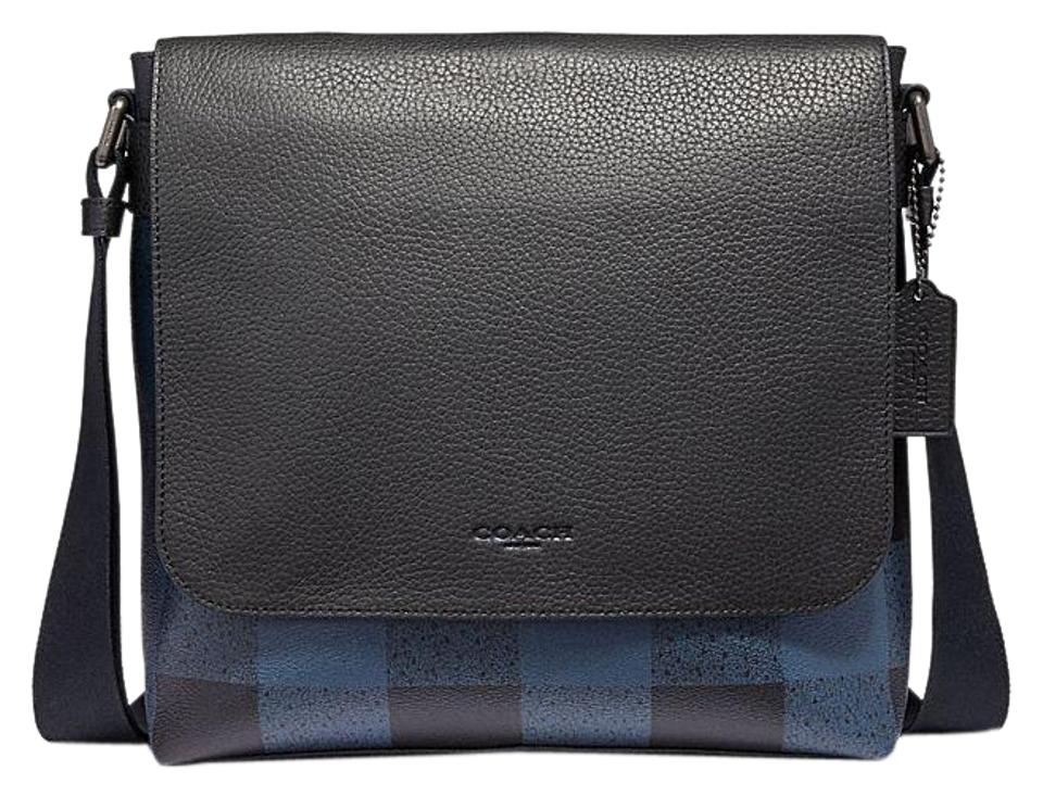 Coach Leather Charles Crossbody Plaid Blue Multi Messenger Bag