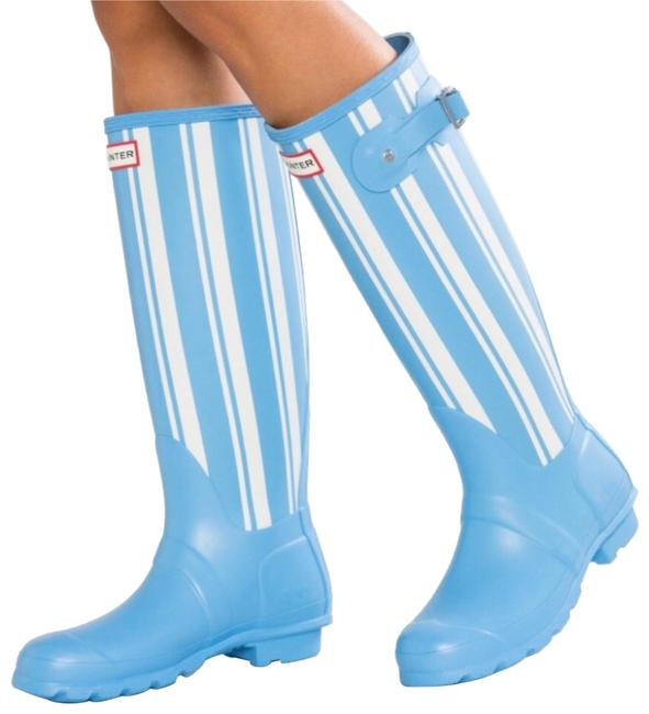 Hunter White/Blue Boots/Booties Size US 6 Regular (M, B) Hunter White/Blue Boots/Booties Size US 6 Regular (M, B) Image 1