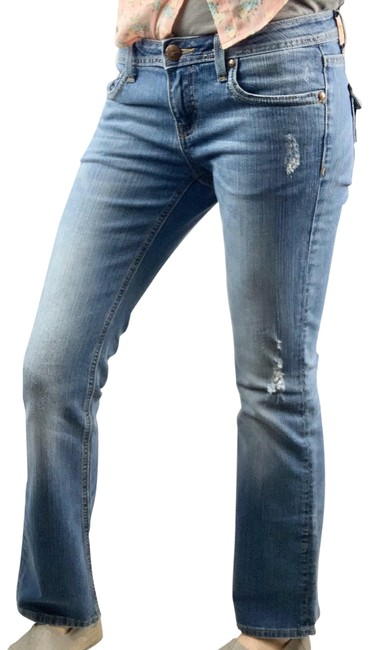Vigoss Blue Distressed The New York Style Faded Low-rise Stretchy Denim Boot Cut Jeans Size 30 (6, M) Vigoss Blue Distressed The New York Style Faded Low-rise Stretchy Denim Boot Cut Jeans Size 30 (6, M) Image 1
