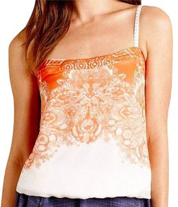 Anthropologie Spaghetti Straps Embroidered Straps Smocked Back Embroidered Band Lined Top Orange