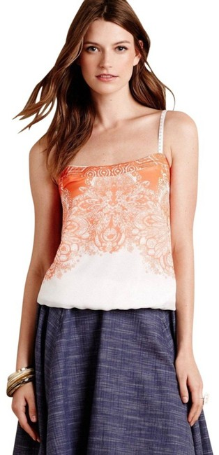 Anthropologie Spaghetti Straps Embroidered Straps Smocked Back Embroidered Band Lined Top Orange Image 1