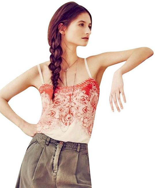 Anthropologie Spaghetti Straps Embroidered Straps Smocked Back Embroidered Band Lined Top Orange Image 2