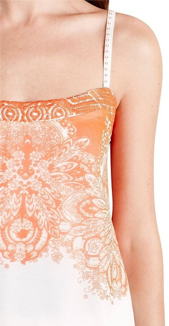 Anthropologie Spaghetti Straps Embroidered Straps Smocked Back Embroidered Band Lined Top Orange Image 3