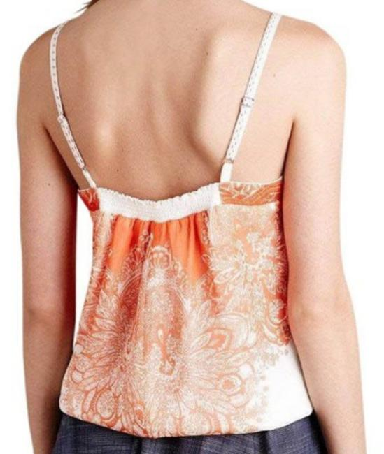 Anthropologie Spaghetti Straps Embroidered Straps Smocked Back Embroidered Band Lined Top Orange Image 5