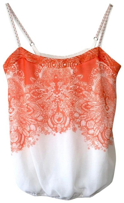 Anthropologie Spaghetti Straps Embroidered Straps Smocked Back Embroidered Band Lined Top Orange Image 6