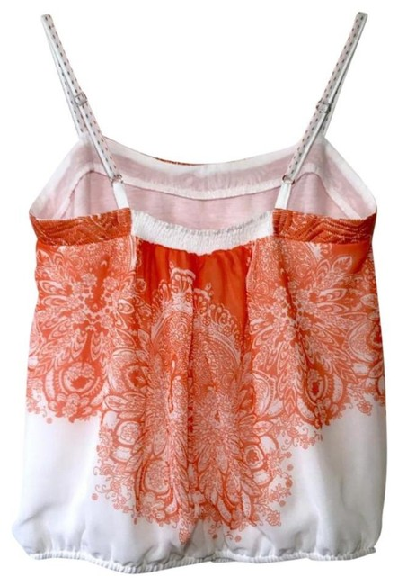 Anthropologie Spaghetti Straps Embroidered Straps Smocked Back Embroidered Band Lined Top Orange Image 7