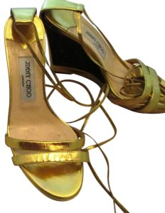 Jimmy Choo Metallic Lace-up Gold Sandals